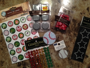 My stockpile of products purchased to decorate my cuffs.