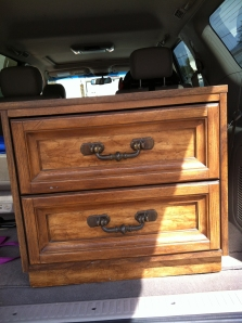 The nightstand was purchased for $20 at a consignment shop.