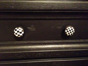 The knobs that were selected to replace the original drawer pulls.
